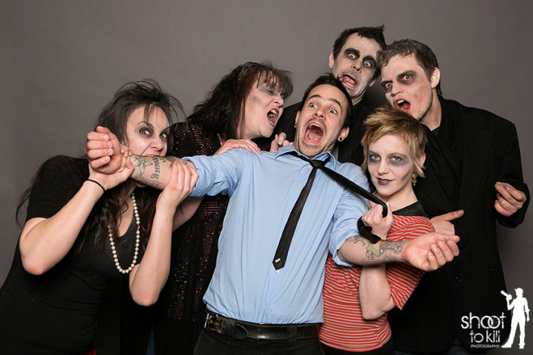 Fun shot of Devin being attacked by his zombie crew.